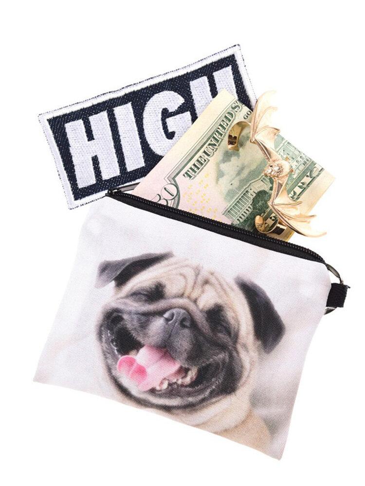 Dog 3D Printing Multi-Functional Cosmetic White Bag Clutch Bag Storage Wash Bag