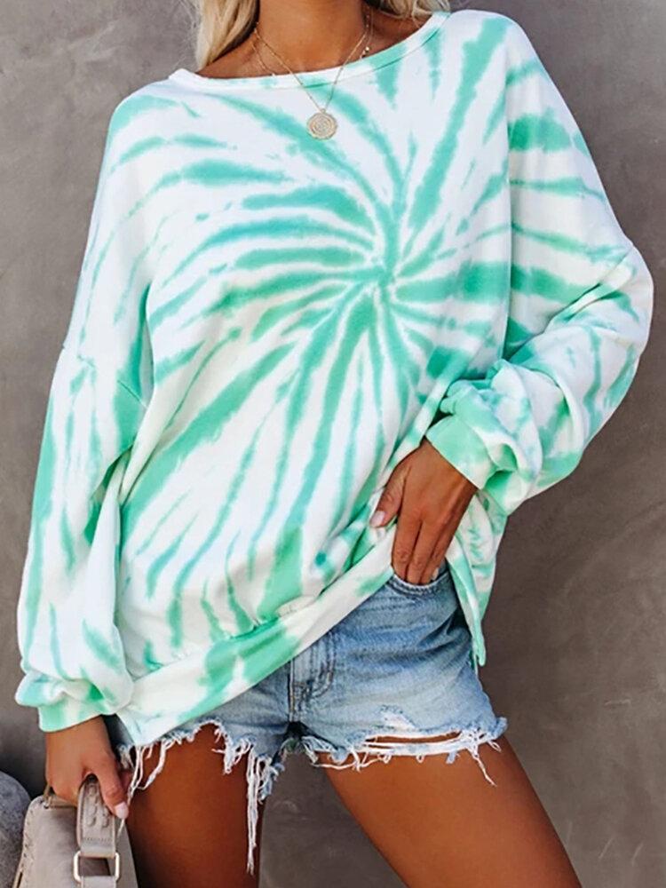 Tie-dye Long Sleeve O-neck Asymmetrical Sweatshirt For Women