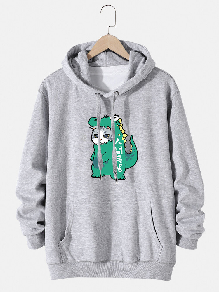 Mens Cartoon Cat Dinosaur Print Cotton Pouch Pocket Drawstring Hoodies, newchic  - buy with discount
