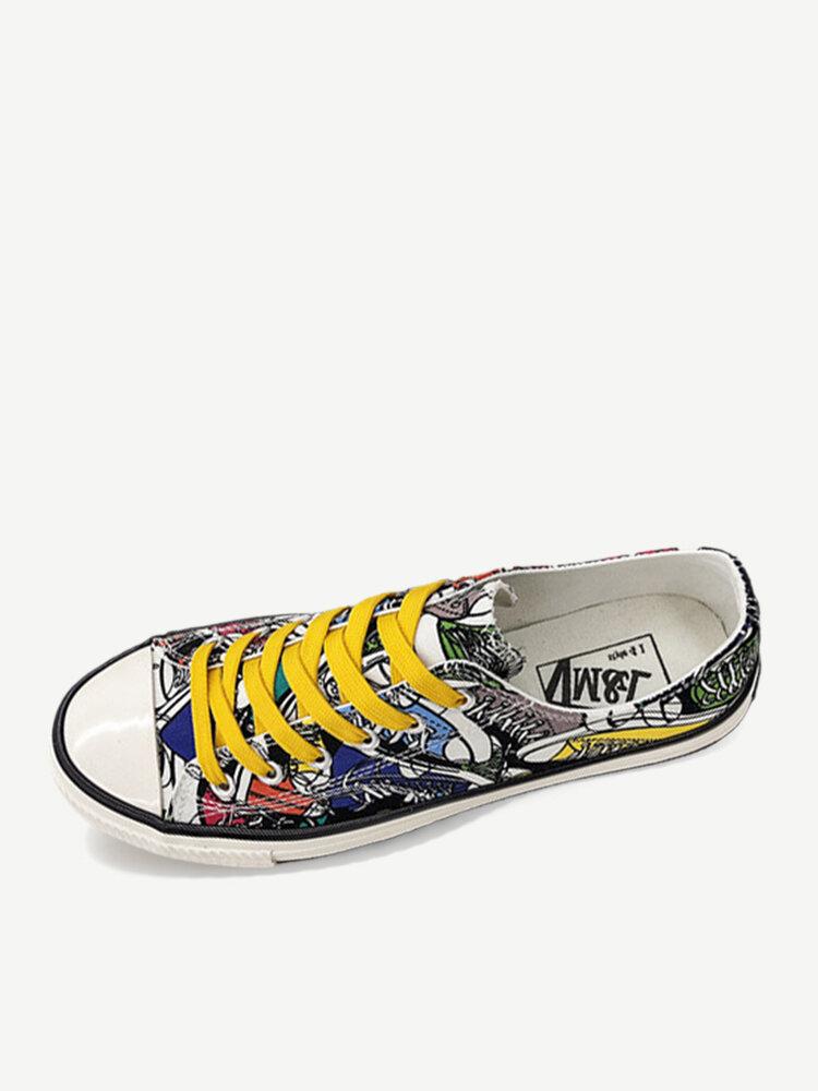 New Season Canvas Shoes Men's Tide Shoes Men's Fashion Casual Men's Shoes Flat Low To Help Graffiti Shoes Wild