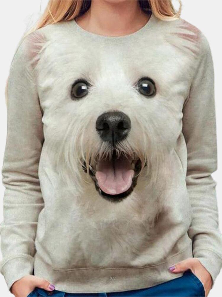 Animal Print Long Sleeve O-neck Casual T-Shirt For Women