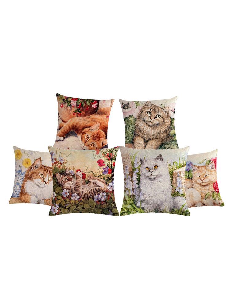 Niedlicher Katze Druck Leinen Kissenbezug Colorful Katzes Muster dekorative Überwurfkissenbezug für Sofa Kissenbezug