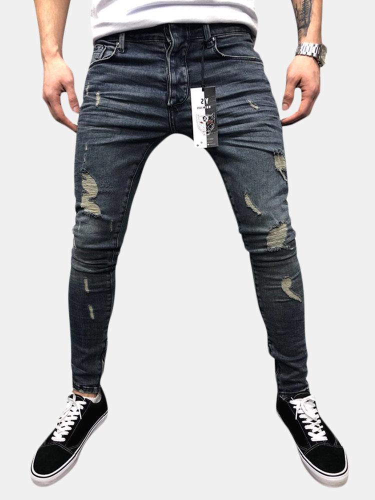 Fori sfilacciati in cotone stile street casual Jeans per uomo