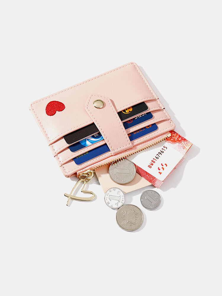 Multi-card Card Holder Card Holder Heart-Shaped Embroidered Thread Small Wallet Fashionable Multi-function Coin Purse
