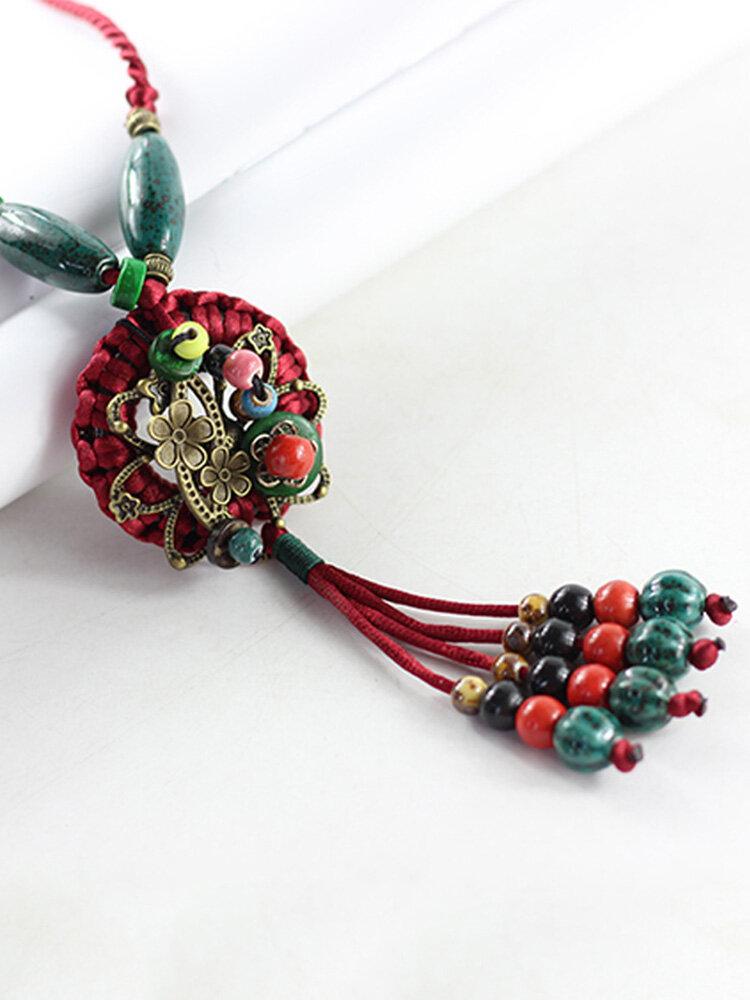 Vintage Flowers Tassel Pendant Round-shape Ceramic Alloy Wood Necklaces