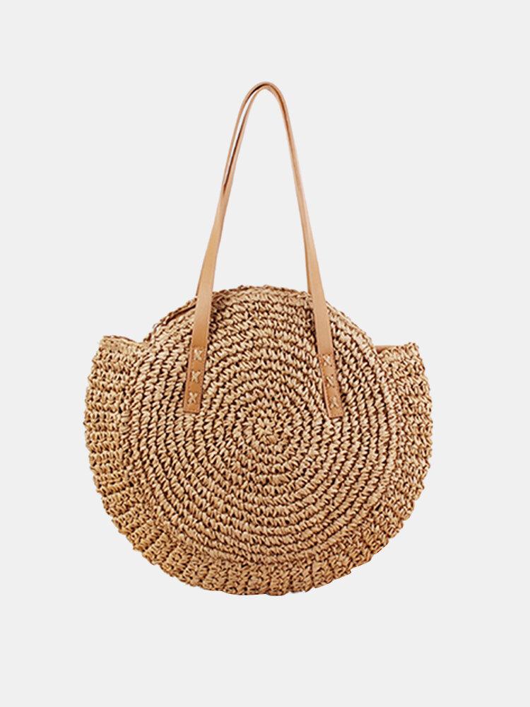 Women Leisure Round Straw Bag Woven Beach Bag Shoulder Bag