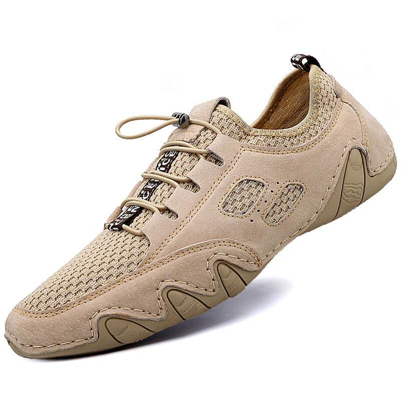 Men Round Toe Hand Stitching Breathable Mesh Leather Shoes