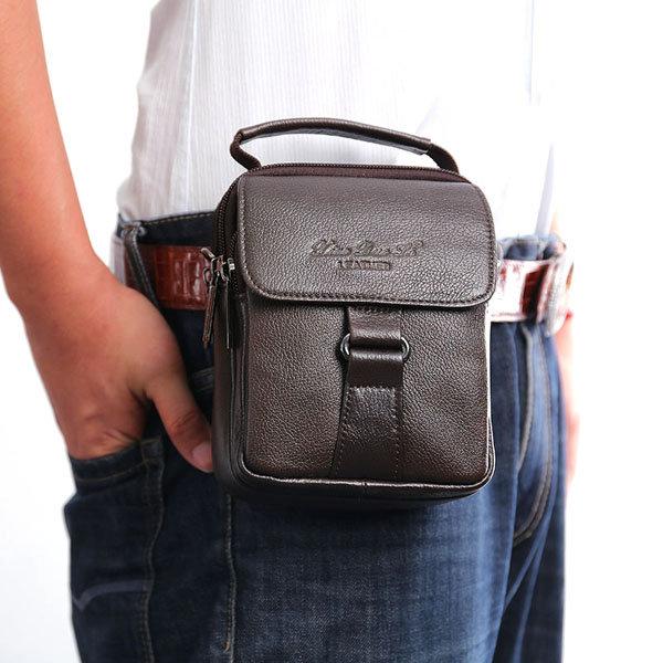 Genuine Leather Waist Bag Business Sling Bag Dual-use Handbag For Men