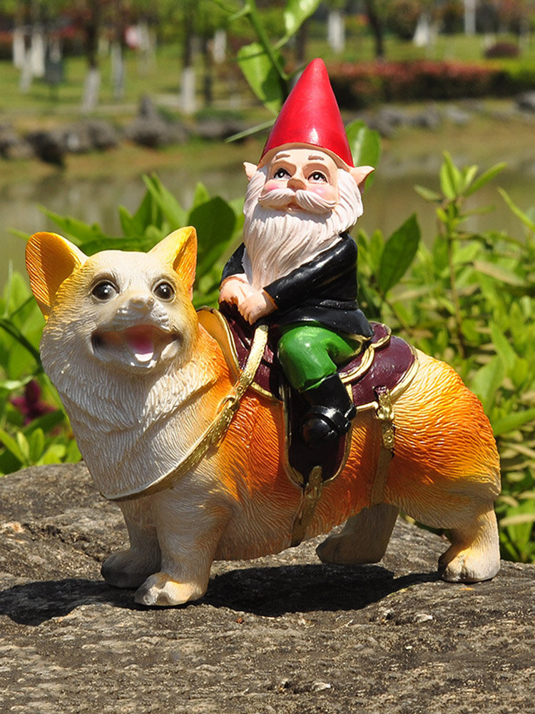1PC Resin Gnome Dwarf Hand Painted Statues With Corgi Dog Lawn Decorations Indoor Outdoor Christmas Garden Ornament