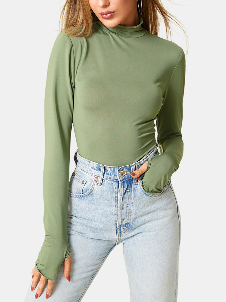 Women Solid Color Long Sleeve High Neck Casual T-Shirt