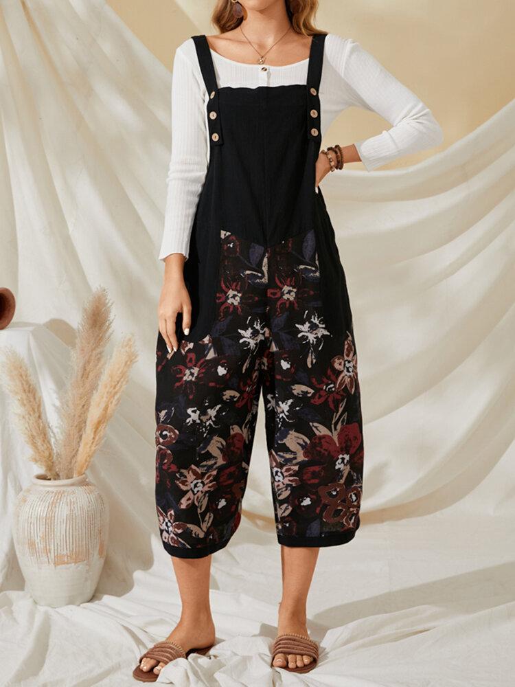 Combinaison courte en coton sans manches avec poches boutonnées et imprimé calicot