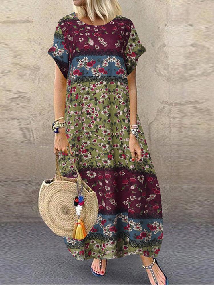 花柄パッチワーク半袖プラスサイズバギードレス