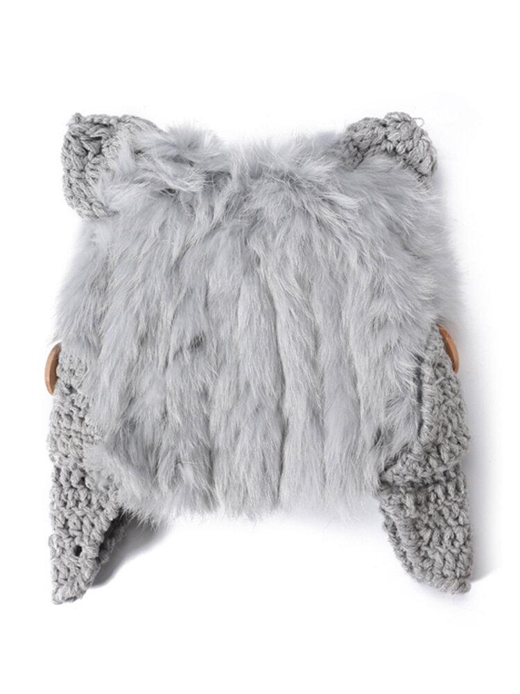Women Mohair Solid Color Hats Cute Cap Winter Warm Windproof Fashion Bucket Cap With Cat Ear