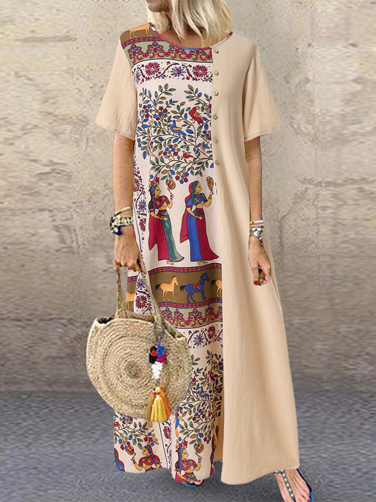 African Print Patchwork Button Plus Size Maxi Dress with Pockets