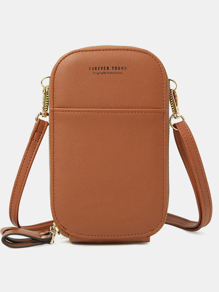 Women Casual Crossbody Bag Solid Phone Bag Clutch Wallets
