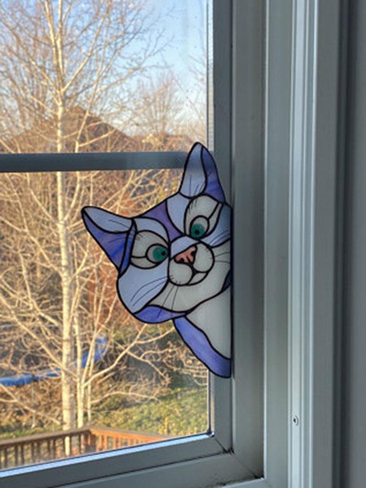 1 PC PVC Cartoon Peeking Cat Dog Cute Home Decoration Self-adhesive Waterproof Window Sticker Wall Sticker