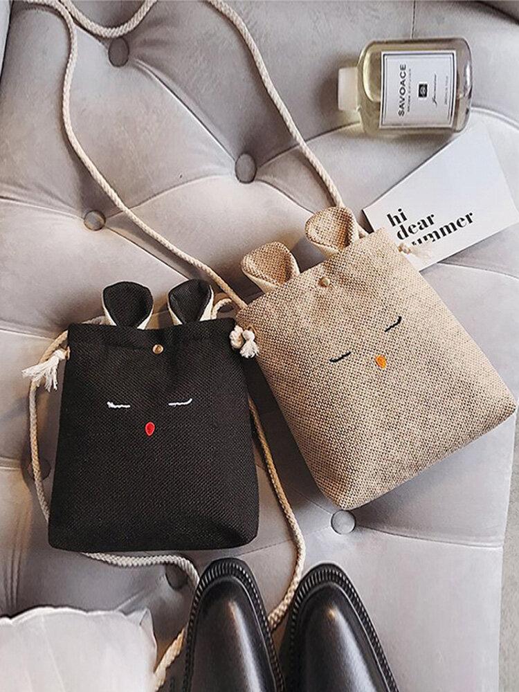 Cute Canvas Bunny Shoulder Bag Crossbody Phone Bag For Women