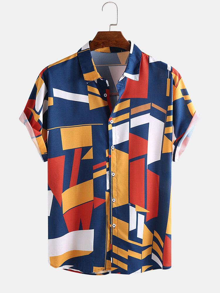 Camicie larghe a maniche corte con colletto rovesciato stampato colore divertente da uomo