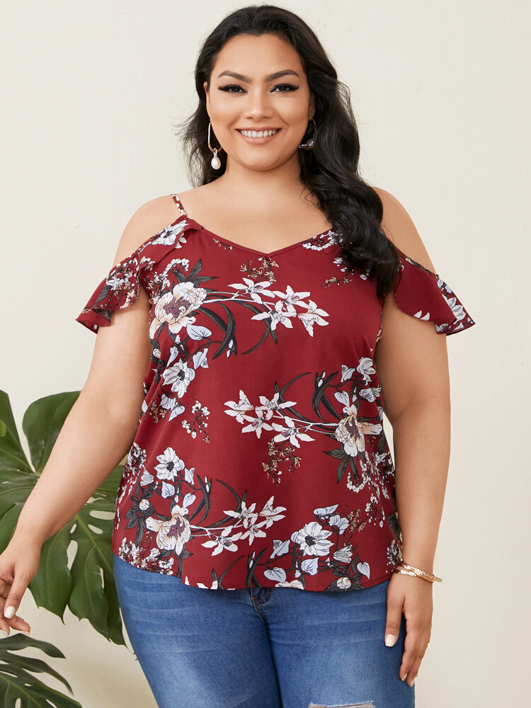 Calico Print V-neck Ruffled Plus Size Sexy Blouse for Women
