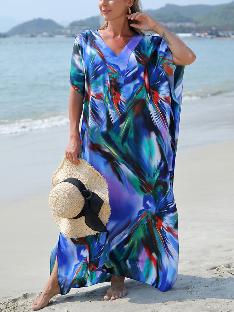Women Ombre Printing V-Neck Sun Protection Beach Cover Up Swimsuit