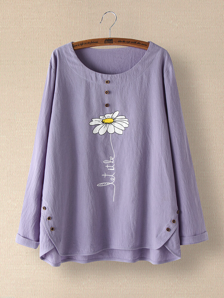 Flower Printed Long Sleeve O-neck Button Blouse For Women