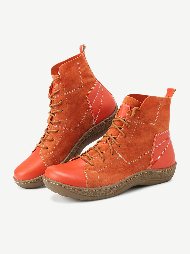Suede Splicing Lace Up Slip Resistant Ankle Casual Boots For Women