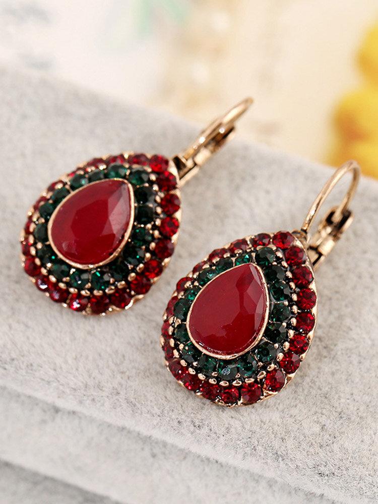 Bohemian Red Crystal Earrings Retro Water Drop Ear Drop Rhinestone Earrings For Women