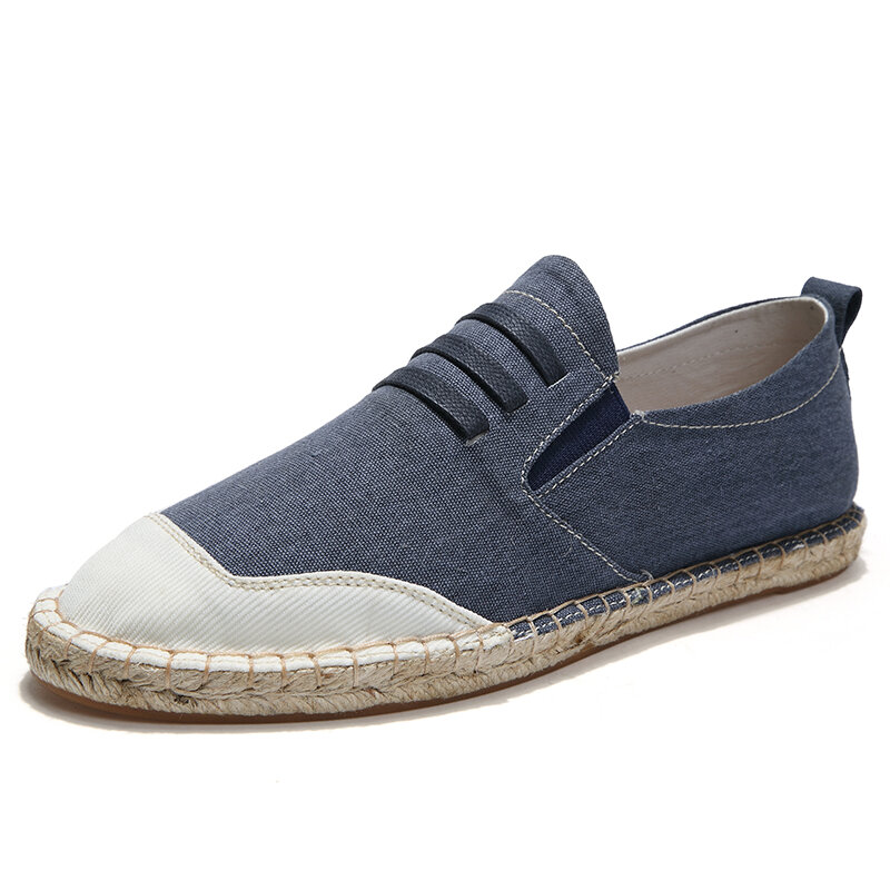 Men Canvas Splicing Breathable Hand Stitching Casual Fisherman Shoes
