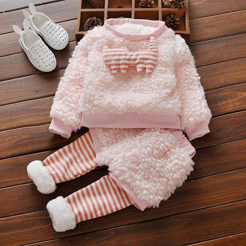 Pink Warm Thick Fleece Baby Girls Clothing Set For 0-24M