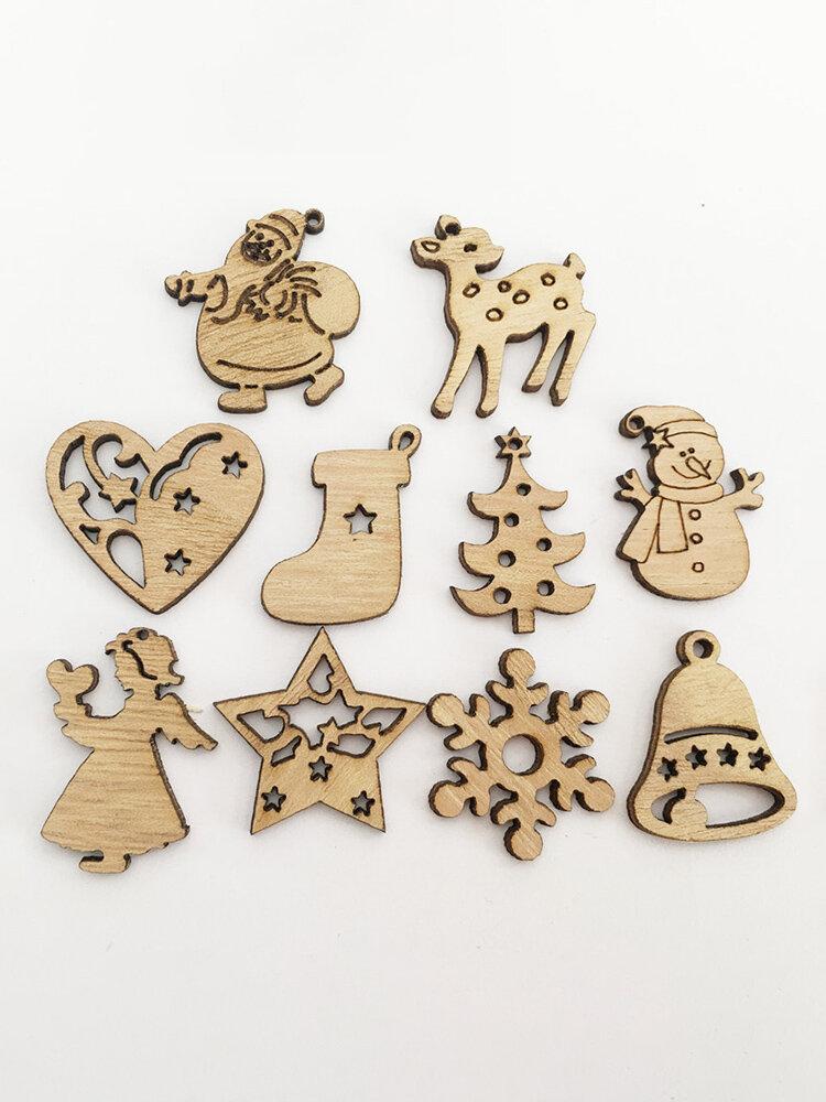 100 Pcs Mix Wooden Buttons DIY Handcraft Materials Snowman Star Heart Chriatmas Style Sewing Buttons