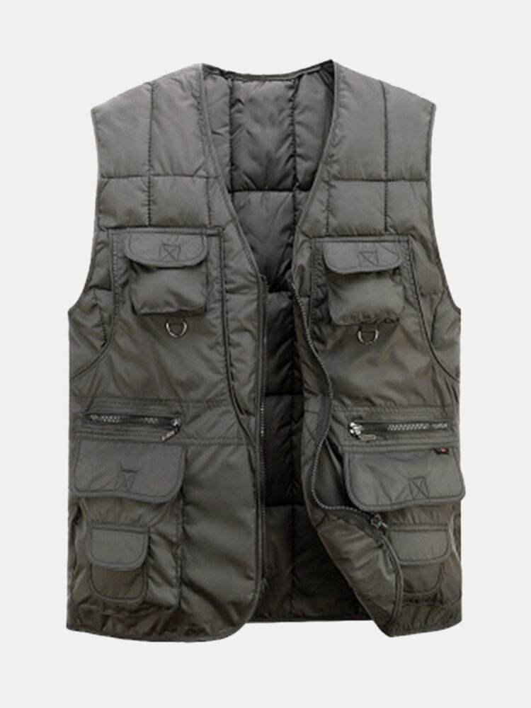 Fall Winter Cotton-padded Vests Fishing Outdoor Casual Waistcoat For Men