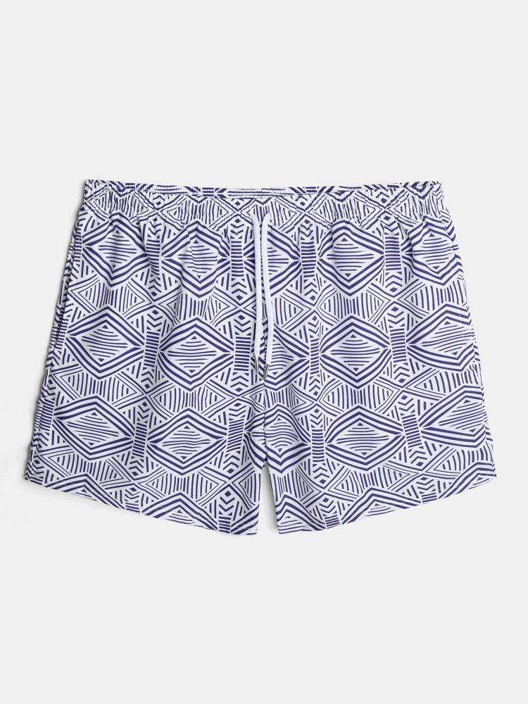 Mens Geo Print Breathable Holiday Drawstring Swim Trunks With Pocket