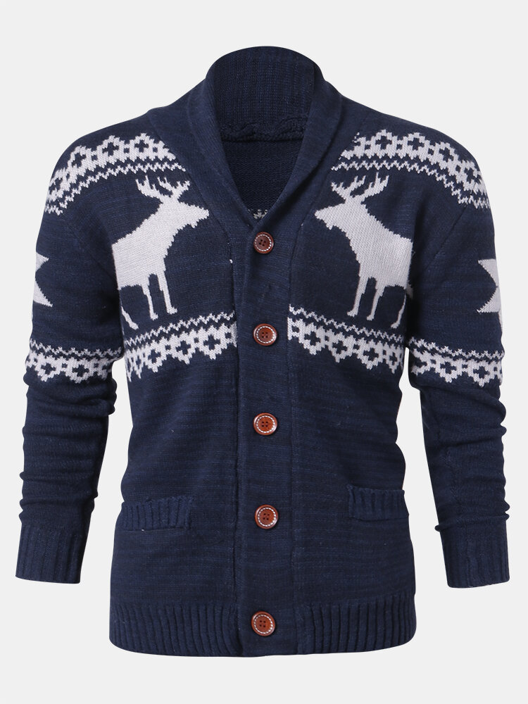 Mens Christmas Reindeer Button Thick Warm Casual Knitted Cardigan Sweater