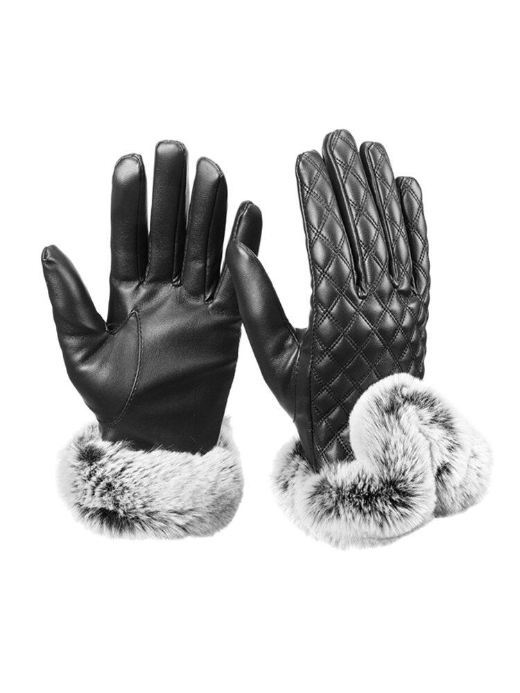 Women Winter Touch Screen Gloves PU leather Windproof Warm Faux Rabbit Fur Gloves