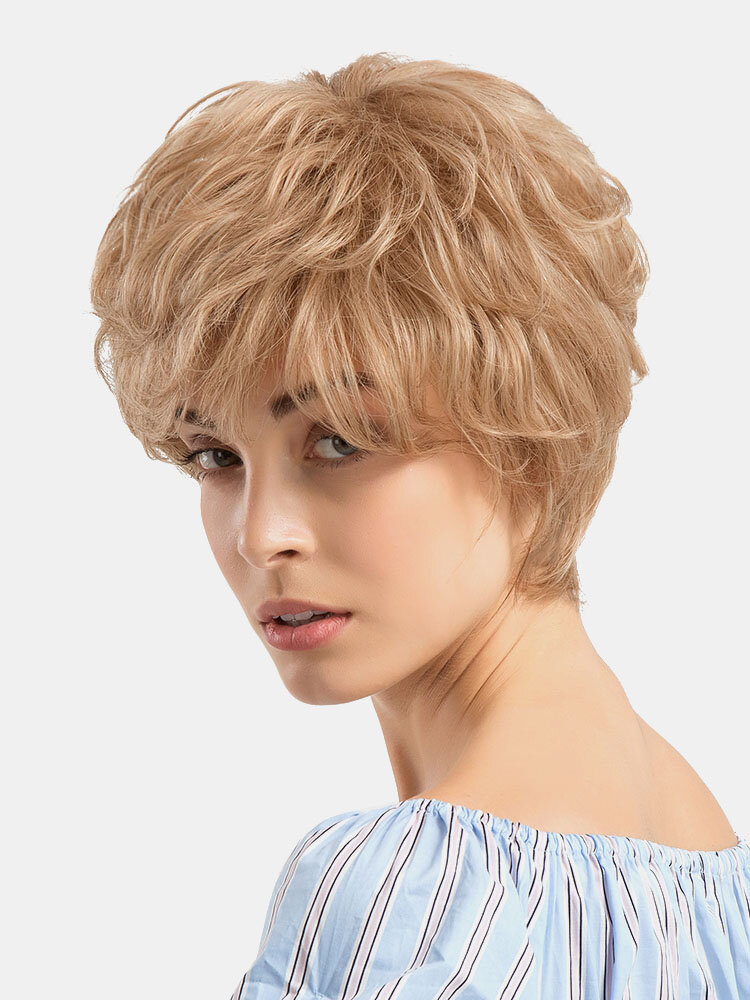 Echthaar Kurze Perücken Mode Gold Kurzes Lockiges Haar Perücken Voller Pony Haar Hearwear Für Damen
