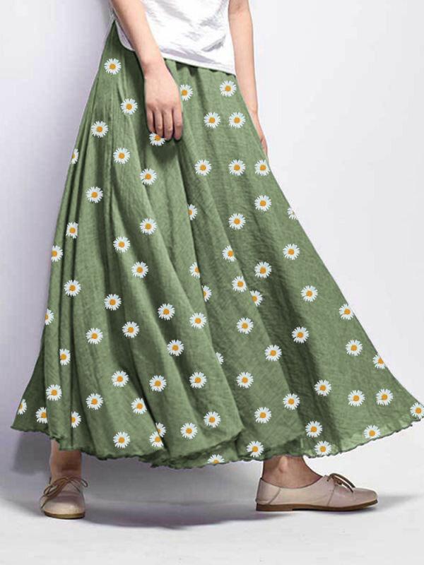 Daisy Floral Print Loose Elastic Waist Maxi Skirt For Women
