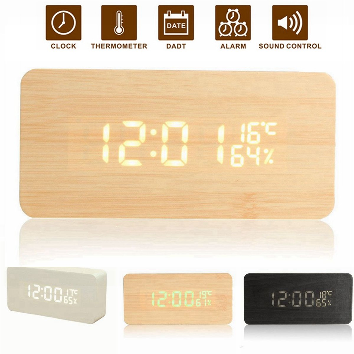 USB Voice Control Wooden Rectangle Temperature LED Digital Alarm Clock Humidity Thermometer
