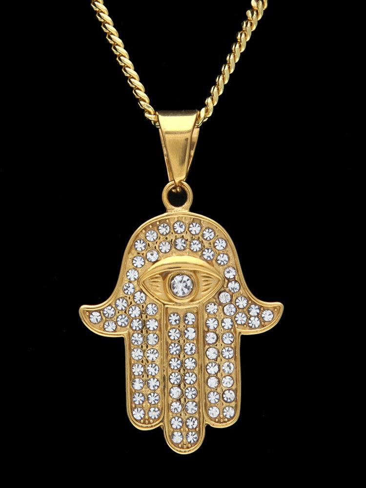 Trendy Hip Hop Hand Of Fatima Evil Eye Stainless Steel Rhinestone Twist Chain Necklace