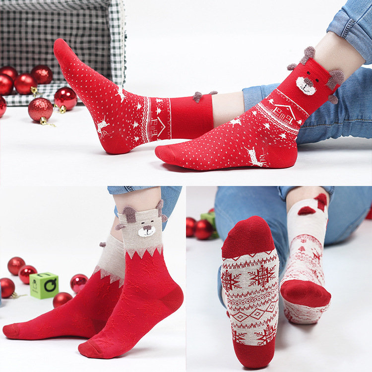 Women Cute Red Deer Christmas Cotton Socks Warm Breathable Soft Tube Socks For Christmas Gifts