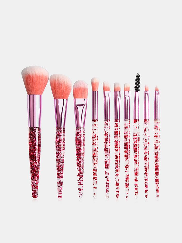 10Pcs / Kit مجموعة فرش المكياج Flash Diamond Drift Sand Makeup Brush Eyebrow Eyeshadow Brush