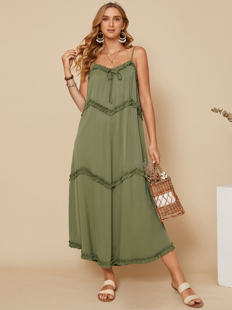 Fungus Patchwork Knotted V-neck Spaghetti Strap Knitted Casual Dress