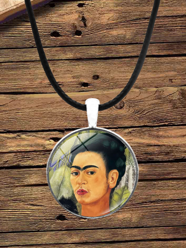 Cartoon Printed Men Women Necklace Adjustable Woman Wearing Flowers Glass Pendant Leather Necklace