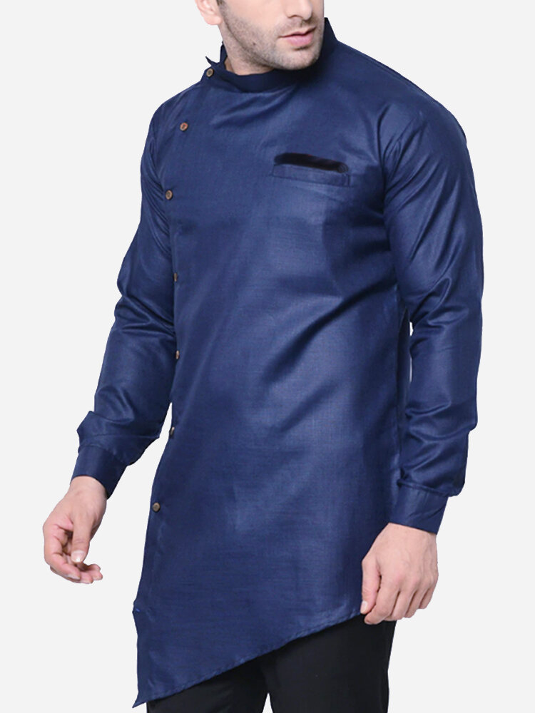 Mens Ethnic Asian Diagonal Button Solid Color Long Sleeve Shirt
