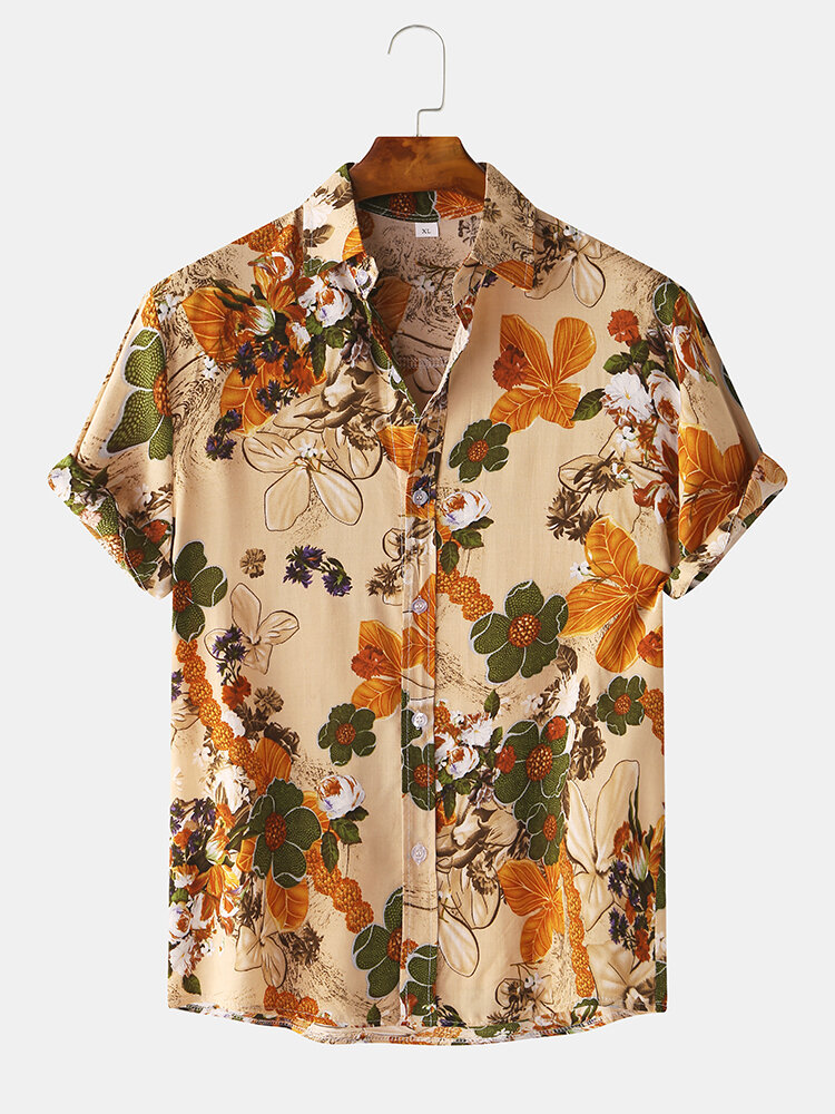 Mens Vintage Floral Oil Printting Short Sleeve Shirts