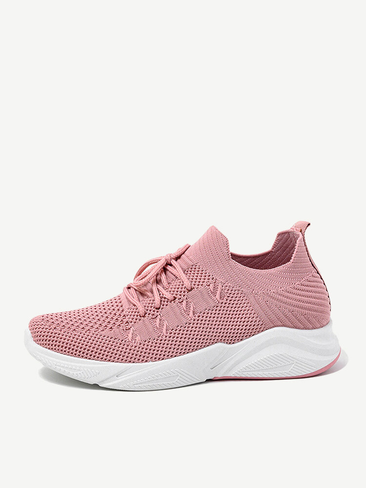 Women Breathable Hollow Light Knitted Lace Up Walking Shoes