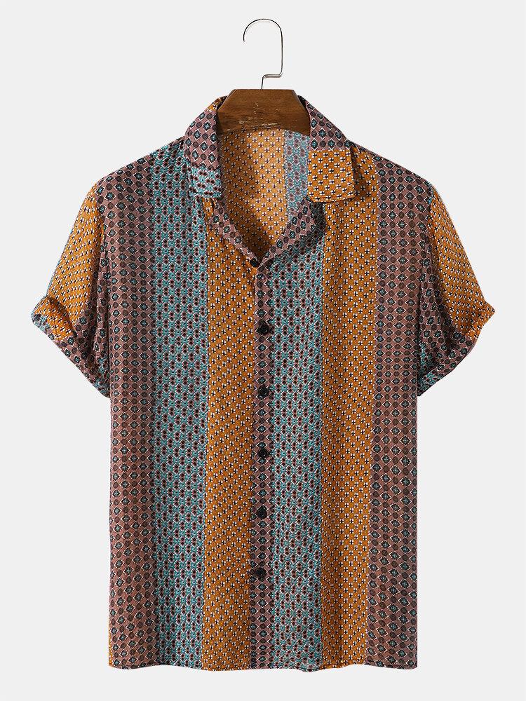 メンズ トライバル ストライプ パターン リビア カラー半袖シャツ