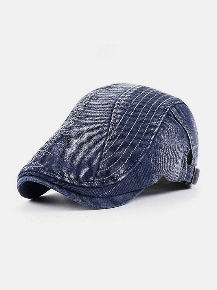 Men Cotton Embroidery Cap Outdoor Leisure Wild Forward Hat Flat Cap