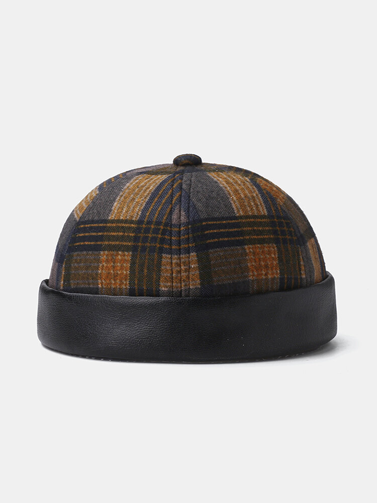 Collrown Men & Women Plaid Pattern Patch Casual Brimless Beanie Landlord Hat Skull Hat