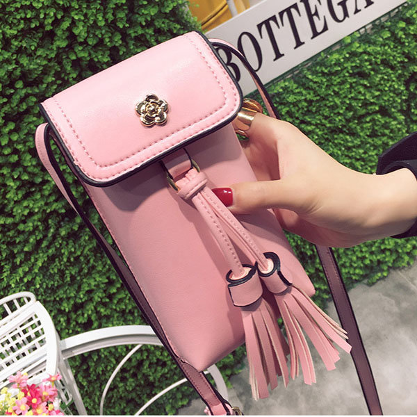 Women Tassel Mini Crossbody Bags PU Leather Phone Bags