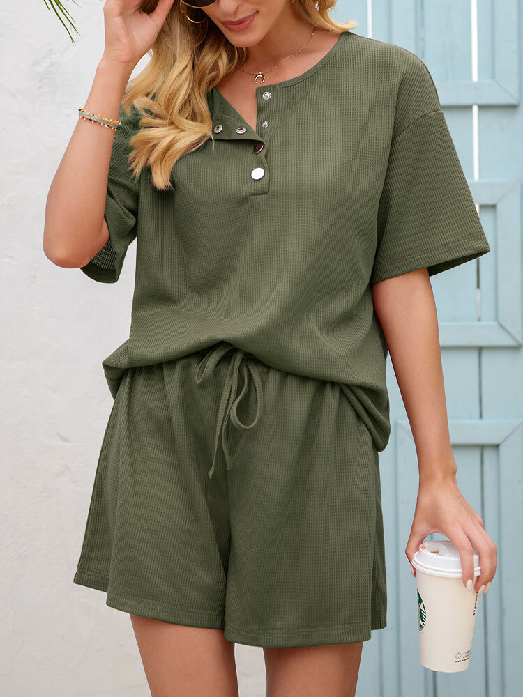 Waffles Knit Button Front Tee & Drawstring Shorts Solid Suit